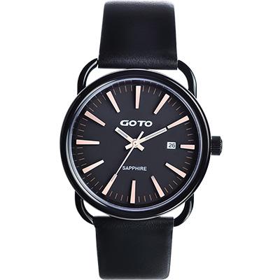 GOTO 幾何極簡日期時尚腕錶-IP黑x玫瑰金時標/38mm