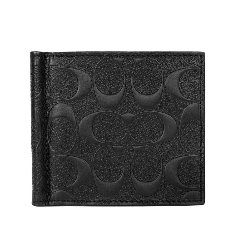 COACH黑色防刮皮革浮雕C Logo針扣鈔票雙摺男夾