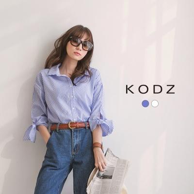 東京著衣-KODZ 金屬扣環綁帶袖襯衫聯名款-S.M.L(共二色)