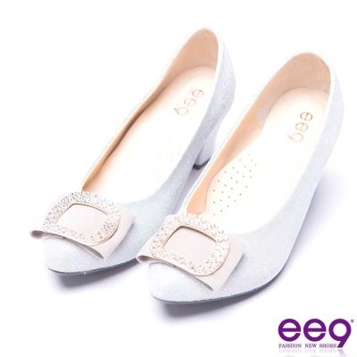 ee9 芯滿益足典雅簡約鑲嵌亮鑽粗跟鞋 銀色