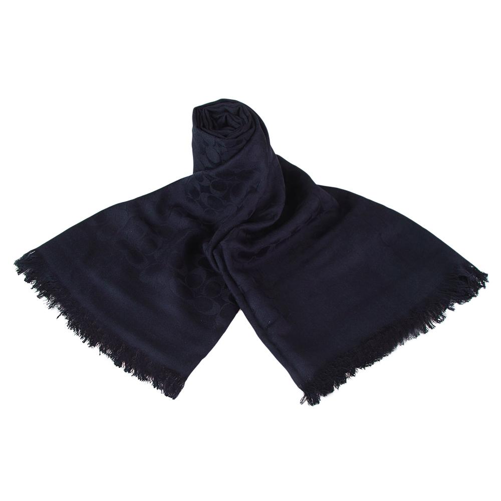 COACH 經典C 滿版LOGO絲質棉抽線流蘇披肩圍巾(深藍)