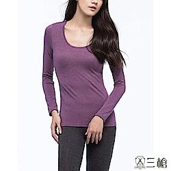 三槍牌時尚經典2件組紫 Q-HEAT超彈性長袖發熱衣