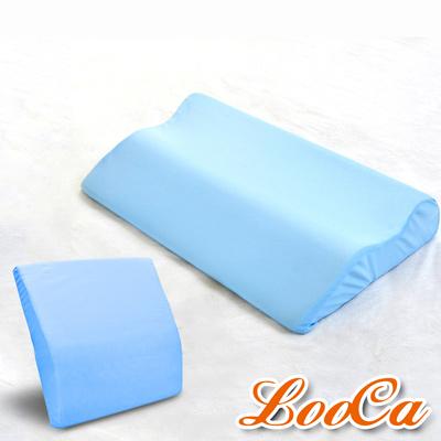 LooCa 吸濕排汗綠能兩用寶背紓壓個人枕靠二件組