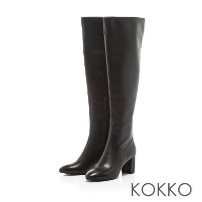 KOKKO-顯瘦美腿可反摺素面高跟長靴-質感黑