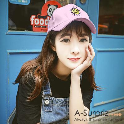 A-Surpriz 微笑太陽刺繡圖騰棒球帽(粉)