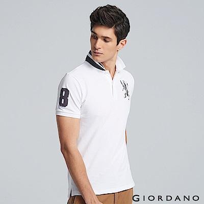 GIORDANO 男裝勝利獅王3D刺繡彈力萊卡POLO衫 -30 標誌白