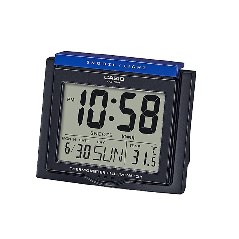 CASIO 測溫型數字電子鬧鐘(DQ-750F-1)-黑