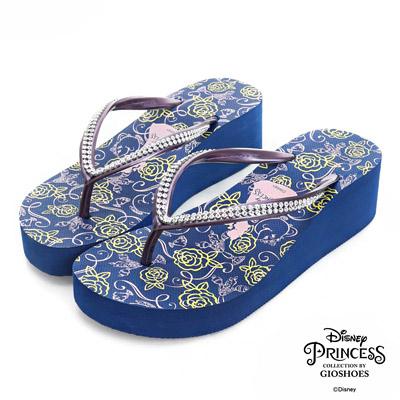 DISNEY甜美童話 雙排水鑽厚底夾腳拖鞋-藍(女)