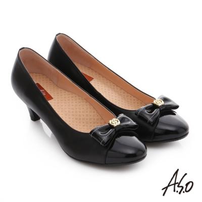 A.S.O 舒活寬楦 全真皮蝴蝶結飾扣奈米窩心低跟鞋 黑色