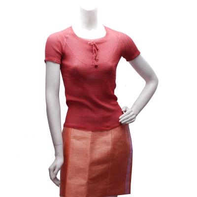 LV 蝴蝶結X小花鈕釦設計真絲短袖針織上衣(櫻桃紅-S)