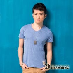 Dreamming 簡約素面布標修身V領短T-天藍