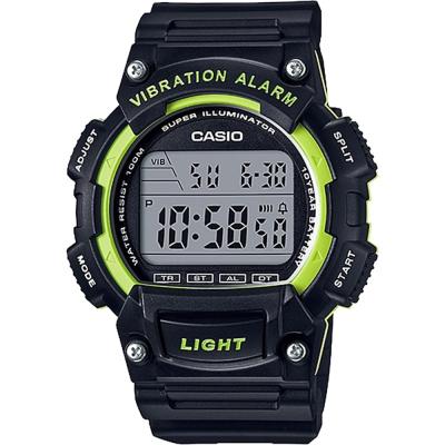 CASIO卡西歐 十年電力運動腕錶-黑x綠/45mm