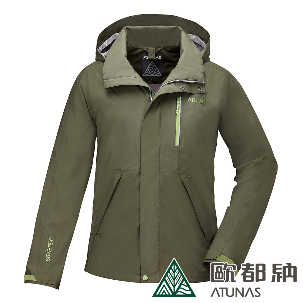【ATUNAS 歐都納】男款防水透氣GORE-TEX風衣外套A-G1717M軍綠