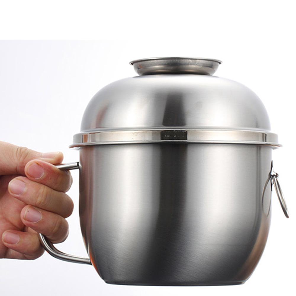 PUSH! 餐具用品多用途304不鏽鋼分層飯盒便當盒泡麵碗E99