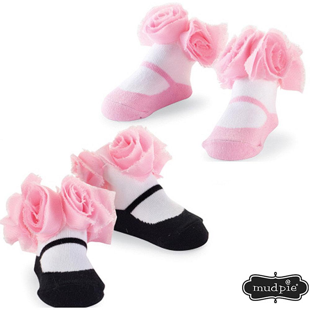 Mud Pie 粉紅佳人粉紅玫瑰嬰兒襪二入組