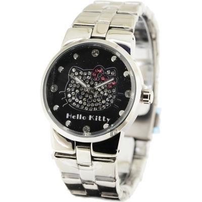 HELLO KITTY 凱蒂貓晶鑽手錶-黑x銀/34mm