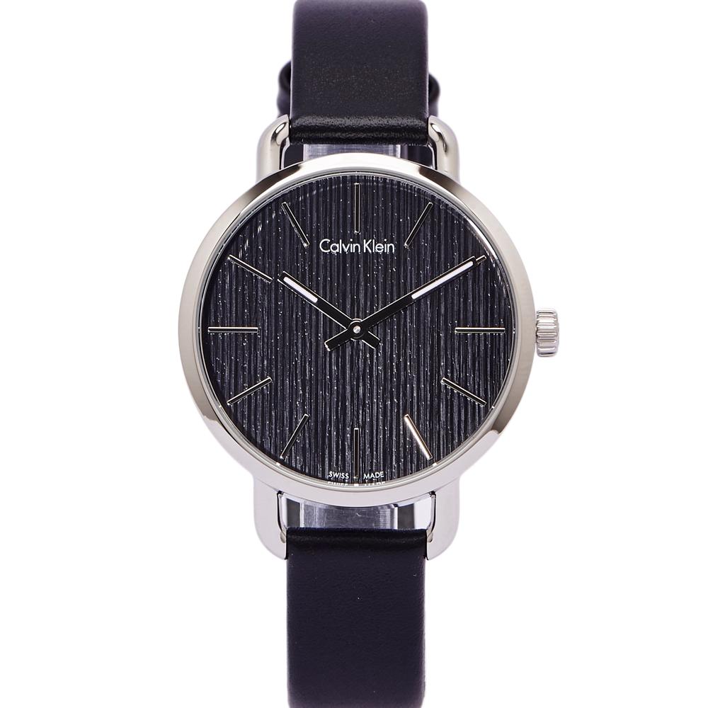 CK Calvin Klein 大自然木質感手錶(K7B231C1)-黑面X銀框/36mm