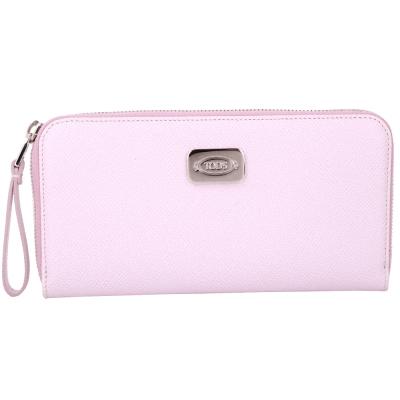 TOD'S 粉色金屬牌飾拉鍊長夾(展示品)