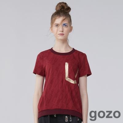 gozo金屬箔印筆刷口袋TEE  (二色)