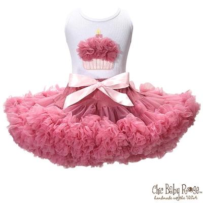 Chic Baby Rose 灰玫瑰手工雙層雪紡澎裙