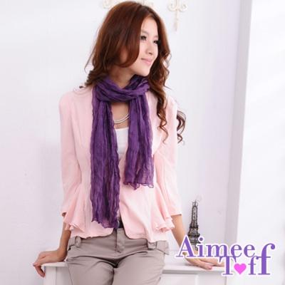 Aimee Toff 百搭高雅素色抓皺圍巾(紫)