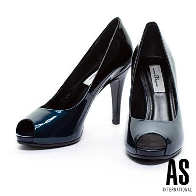 高跟鞋-AS-珠光漸層牛皮美型魚口高跟鞋-藍