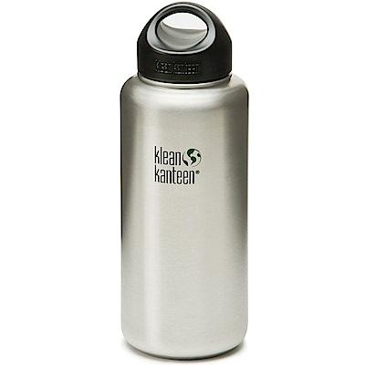 美國Klean Kanteen 寬口不鏽鋼冷水瓶1182ml 原鋼色