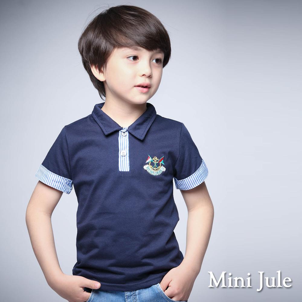 Mini Jule-POLO衫 直紋反摺袖船錨短袖上衣(藍)
