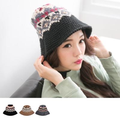 Blossom-Gal-民族風毛線編織圖騰漁夫帽