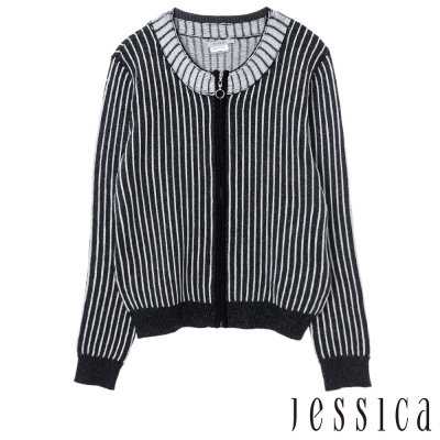 JESSICA-R-率性俐落直條紋針織外套-黑