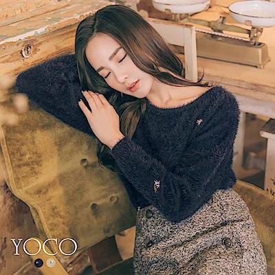 東京著衣-yoco 輕甜舒適圓領毛海小繡花上衣-S.M.L(共二色)
