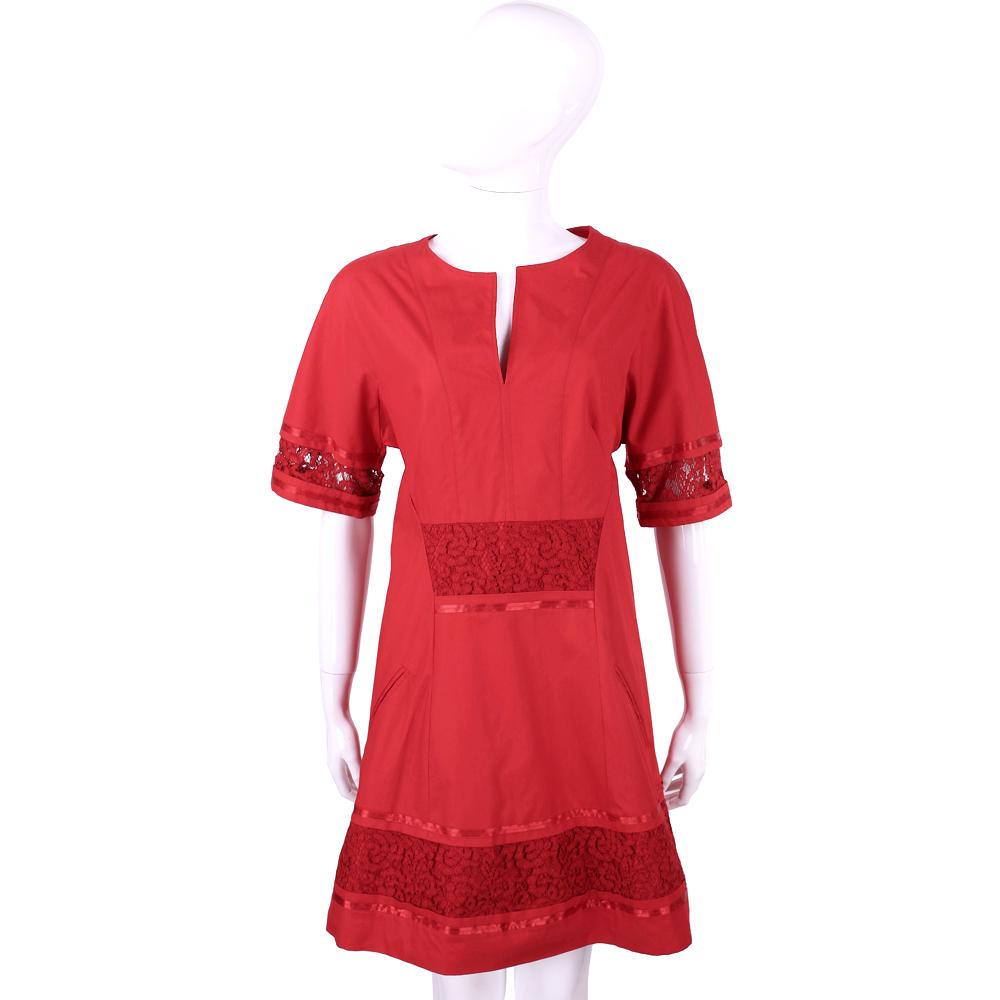 PHILOSOPHY 紅色蕾絲拼接短袖洋裝