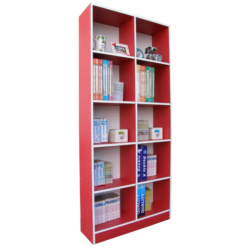 Dr. DIY 挑高格10格收納書櫃-紅白色