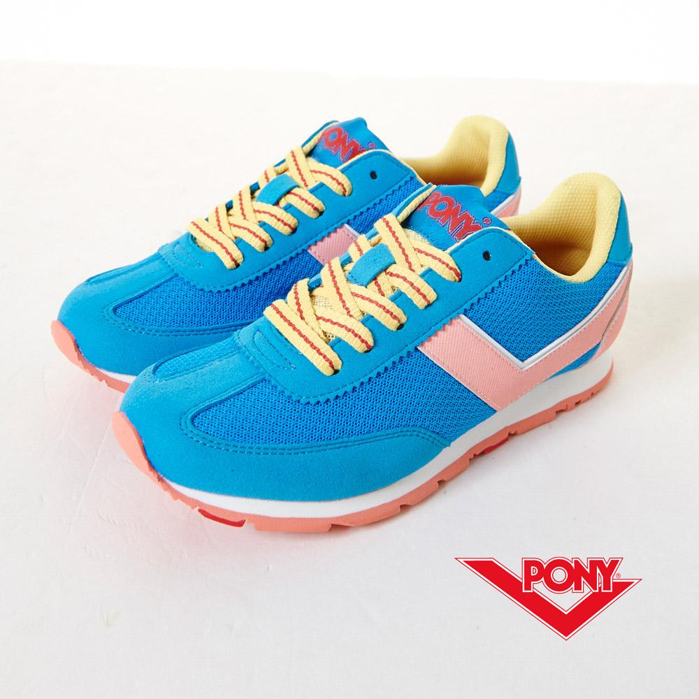 PONY-SOHO-飽和色復古慢跑鞋-藍(女)