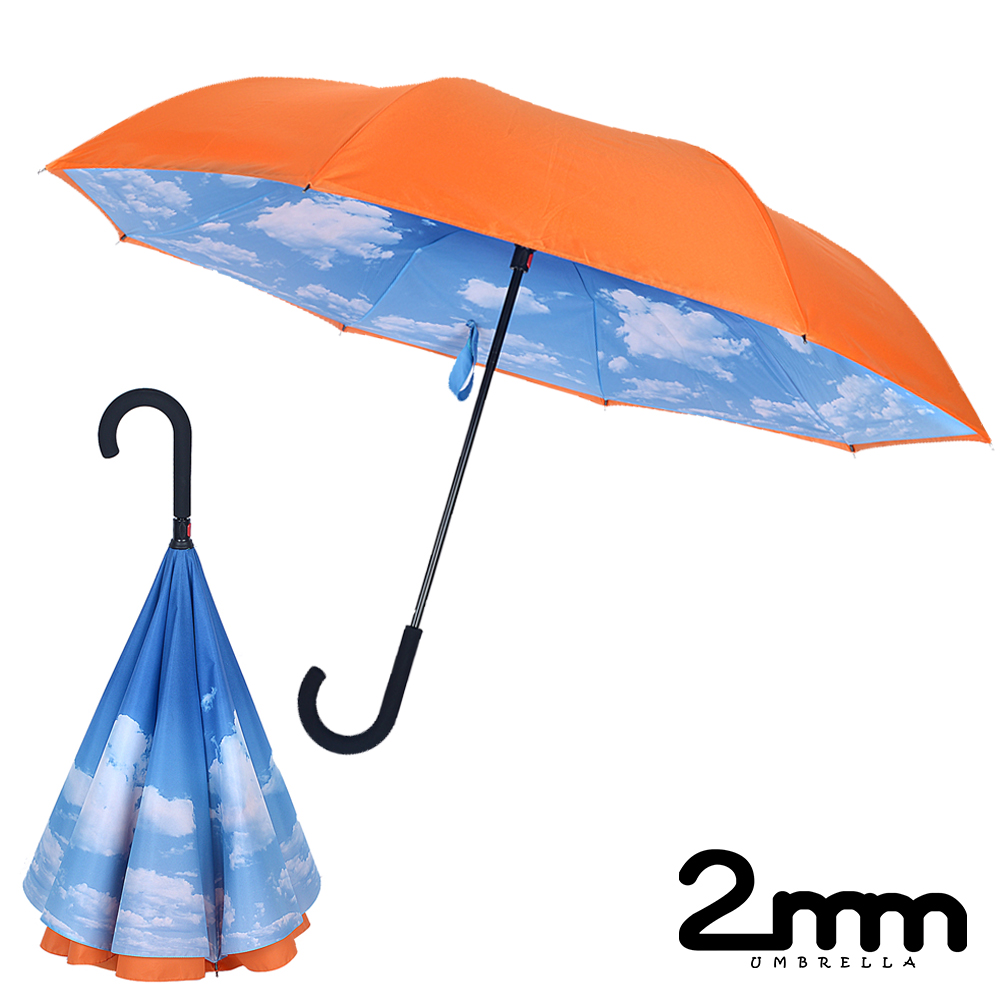 2mm 盛夏雲朵雙層防風反向傘/直傘 (橙色)