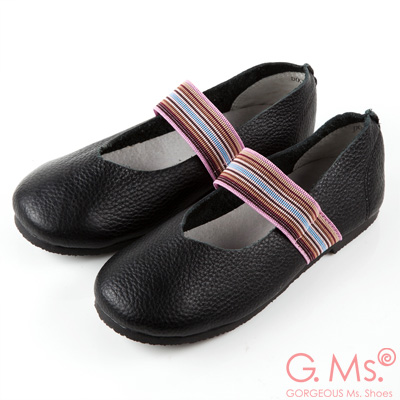 G.Ms. 童鞋-繽紛鬆緊帶圓頭牛皮休閒鞋-黑色