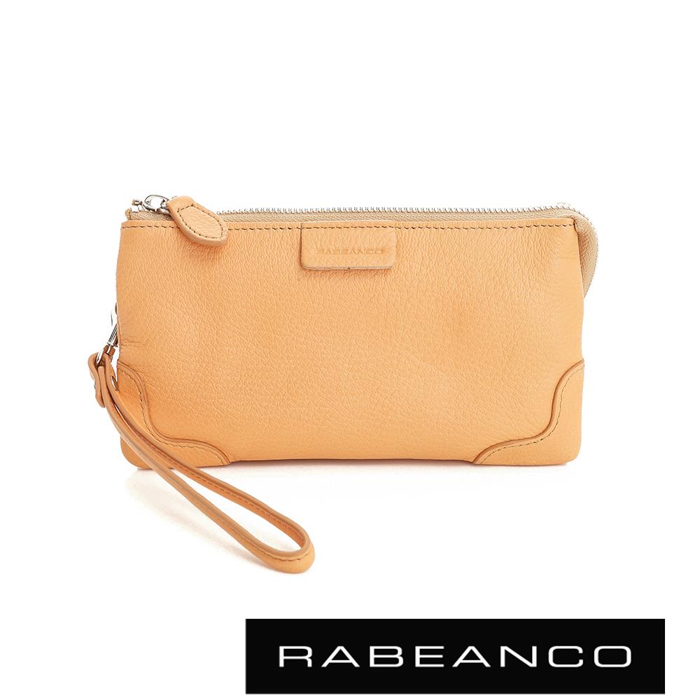 RABEANCO 迷時尚系列多分層羊皮手拎零錢包(大) 淡香橙