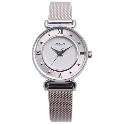 JULIUS聚利時 一個人的旅行米蘭帶腕錶-銀色/28mm