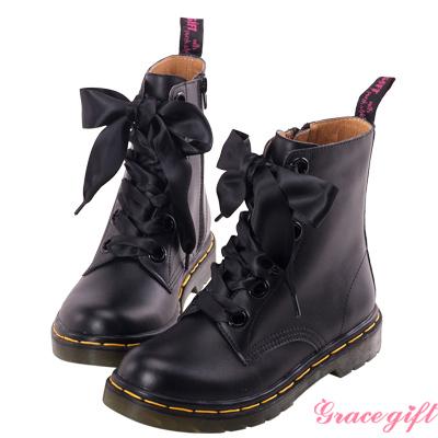 Grace gift-全真皮緞帶馬汀短靴 黑