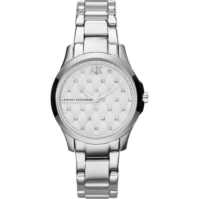 A│X Armani Exchange Lady 菱格紋腕錶-銀/36mm