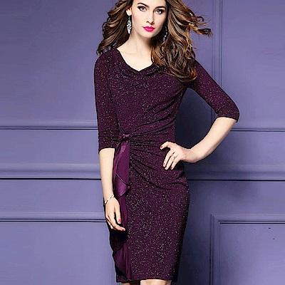 a-la-mode-艾拉摩兒-葡萄紫星光軟棉抓皺綁