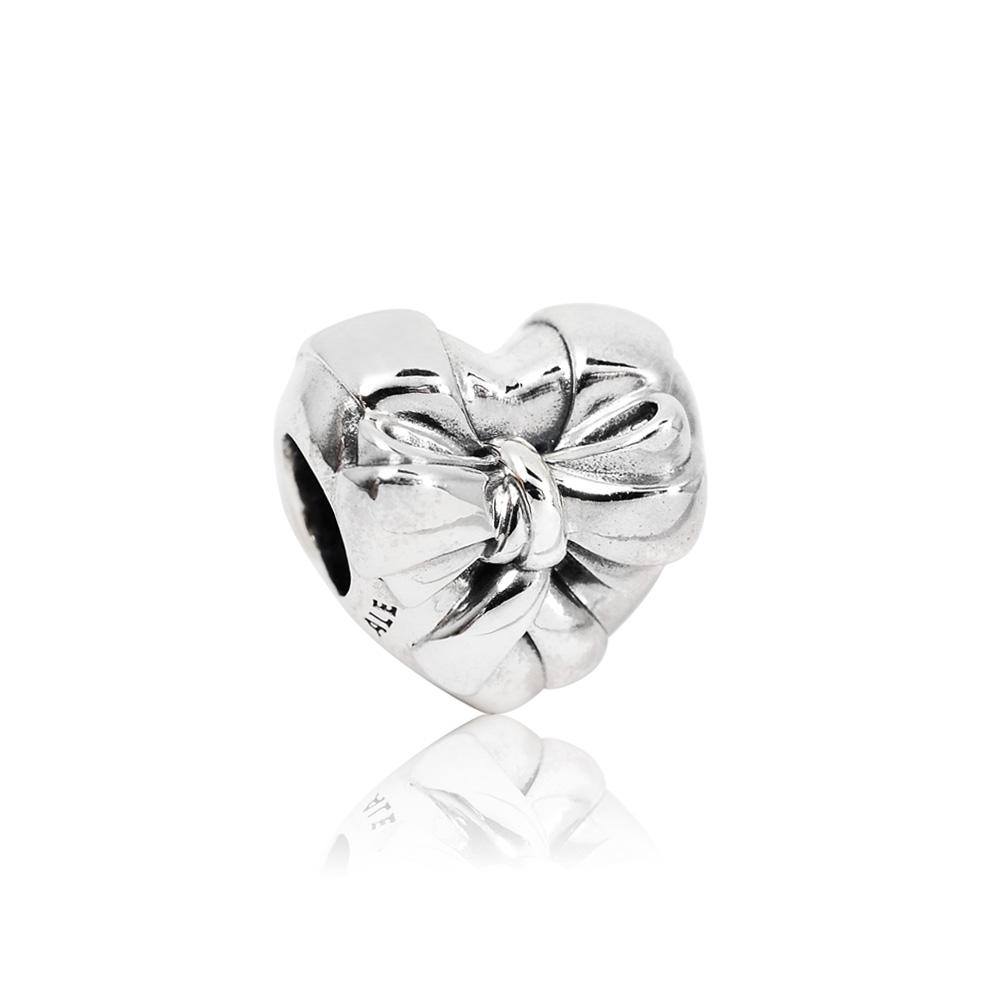 Pandora 潘朵拉 愛心緞帶造型 純銀墜飾 串珠