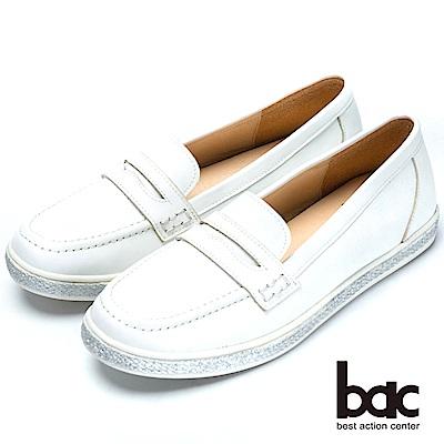 bac舒適鞋墊後切軟墊時尚平底鞋-白