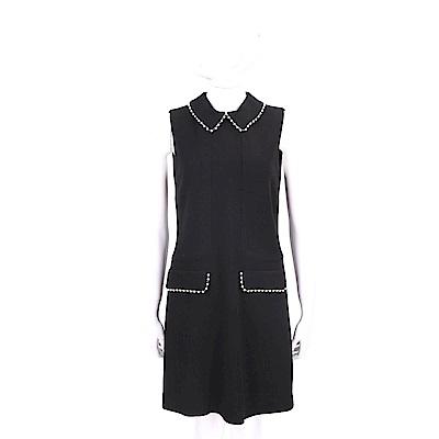 ERMANNO SCERVINO 羊毛黑色珍珠細節襯衫領背心洋裝