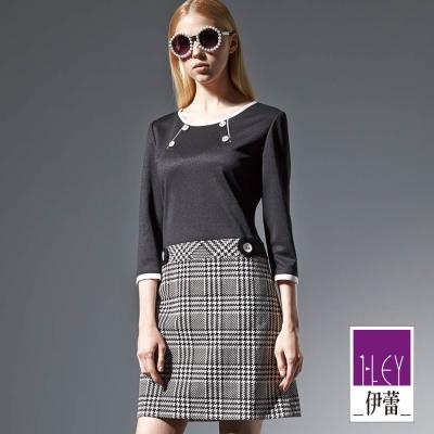 ILEY伊蕾-紐釦黑白格子洋裝-黑