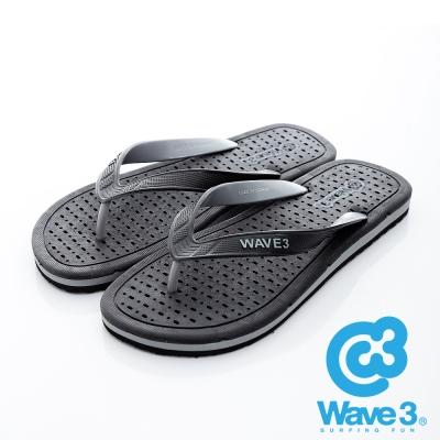 WAVE3【男】獨家設計排水透氣人字夾腳拖鞋~黑