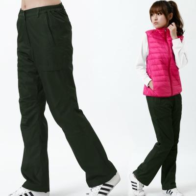 【遊遍天下】女款立體剪裁防風防潑水禦寒刷毛長褲/ 防風雪褲 P106墨綠