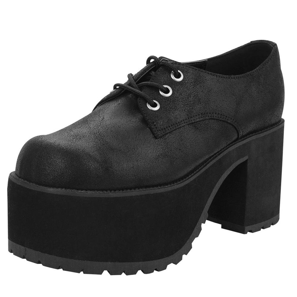 TUK爆裂紋麂皮AGOGO粗跟鞋-黑