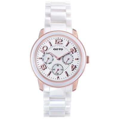 GOTO 躍色純粹時尚陶瓷腕錶-IP玫x玫/39mm