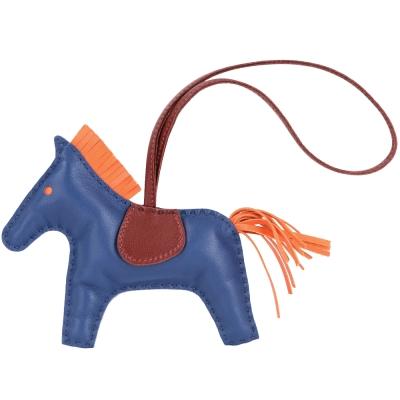 HERMES Rodeo MM 馬兒拼接小羊皮鑰匙圈/吊飾(藍色)
